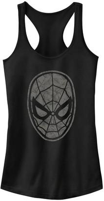 Marvel Juniors' Spider-Man Mask Floral Fill Tank Top