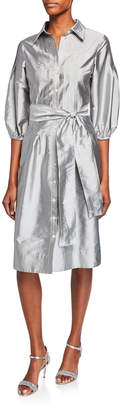 Rickie Freeman For Teri Jon Button-Front Puff-Sleeve Taffeta Shirtdress