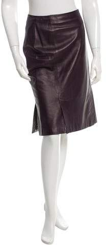 Prada Leather Knee-Length Skirt