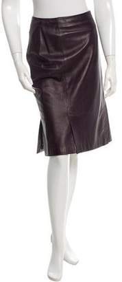Prada Leather Knee-Length Skirt
