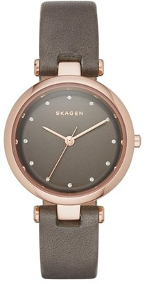Skagen 'Tanja' Leather Strap Watch, 30mm $185 thestylecure.com