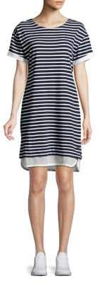 Andrew Marc Performance Striped Short Sleeve T-Shirt Dress
