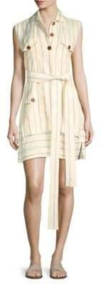 Derek Lam 10 Crosby Striped Belted Shirtdress