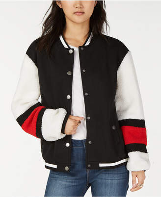 Say What Juniors' Varsity Sherpa Bomber Jacket