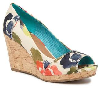 Toms Stella Tangerine Watercolor Floral Wedge Heel