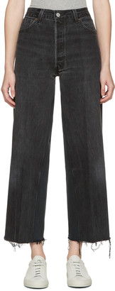 Re-done Black High-rise Wide-leg Crop Jeans