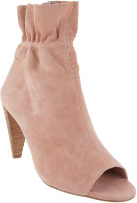 Vince Camuto Leather Peep-Toe Ruched Ankle Boots - Addiena
