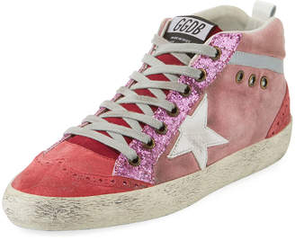 Golden Goose Mid-Top Star Glitter Sneakers, Pink/White