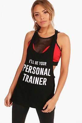 "Zoe Fit Sport-Trägershirt mit ""Personal Trainer""-Slogan"