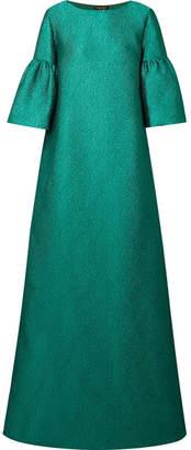 Reem Acra - Metallic Silk-cloqué Gown - Emerald