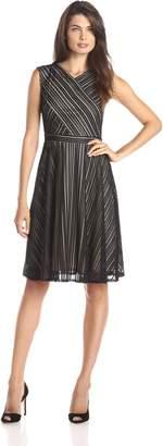 Gabby Skye Women's Sleeveless Cross Bodice Lace Fit and Flare Dress, Black/Nude