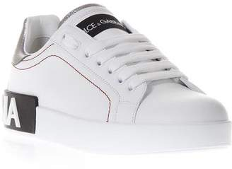 Dolce & Gabbana White Leather Sneakers With Back Logo Print
