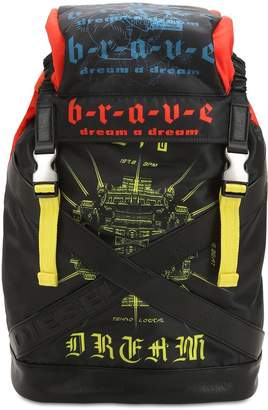 Diesel Graffiti Printed Techno Fabric Backpack