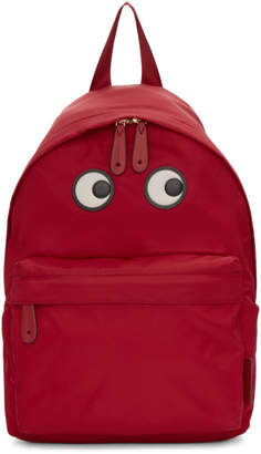 Anya Hindmarch Red Nylon Eyes Backpack
