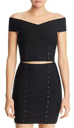 GUESS Mirage Off-the-Shoulder Lace-Up Cropped Top
