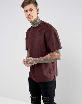 Religion T-Shirt In Faux Suede With Step Hem