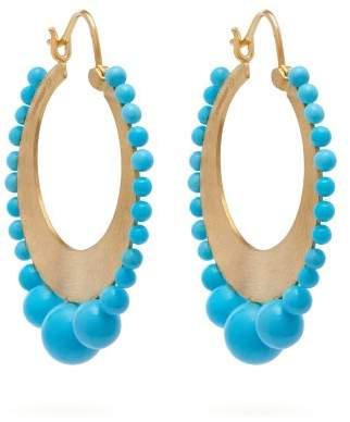 Irene Neuwirth 18kt gold & Kingman turquoise earrings