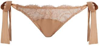 Fleur of England Caramel sheer-lace and satin tie-side briefs