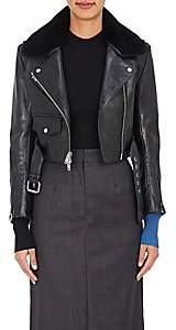 Calvin Klein Women's Shearling-Trimmed Crop Leather Jacket-Black