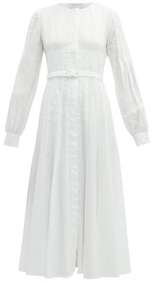 Gabriela Hearst Gertrude Aloe Infused Linen Midi Dress - Womens - White