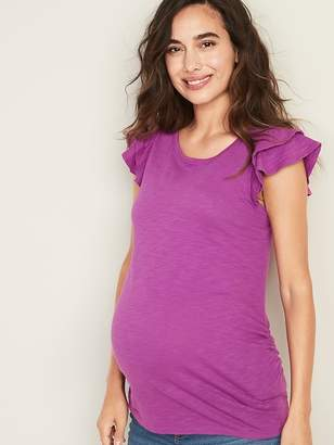1b9172295e5 Old Navy Maternity Fitted Ruffle-Sleeve Top