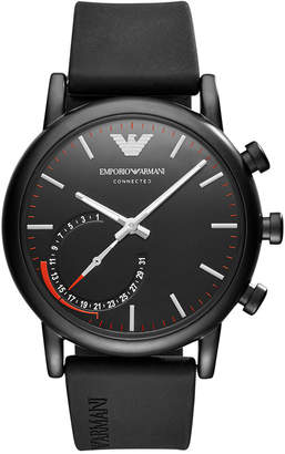 Emporio Armani Men Connected Black Rubber Strap Hybrid Smart Watch 43mm