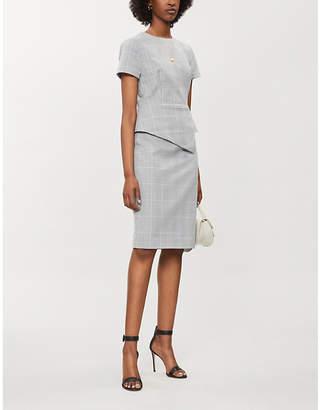 Ted Baker Peplum-waist checked woven dress