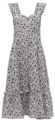 Gioia Bini Camilla Ruffle Trimmed Linen Dress - Womens - Black Multi