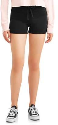 No Boundaries Juniors' Ribbed Tie Waist Dorm Shorts (Denim & Color Washes)