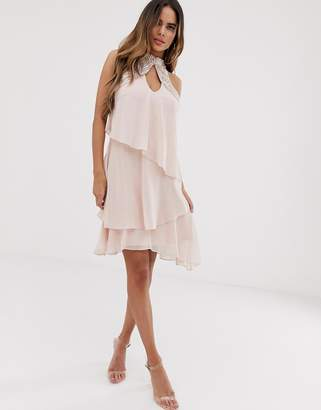 Lipsy tiered swing mini dress in chiffon with embellishment in pink