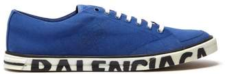 Balenciaga Logo Canvas Low Top Trainers - Mens - Blue