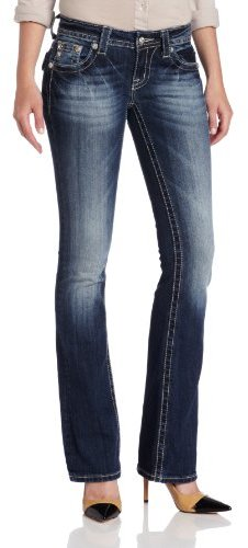 Miss Me Juniors Empire Leather Patched Flap Bootcut Jean