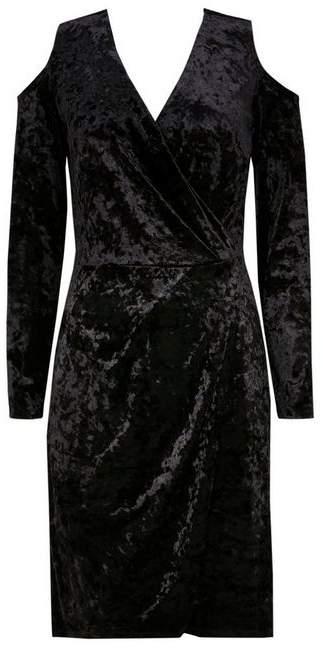 Black Cold Shoulder Velvet Shift Dress