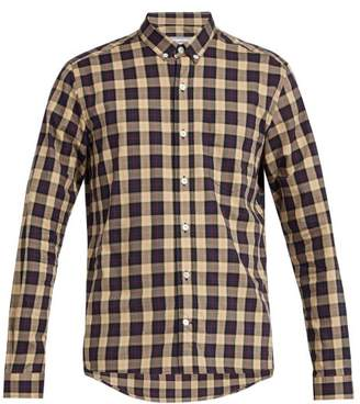 Ami Checked Cotton Shirt - Mens - Brown Multi