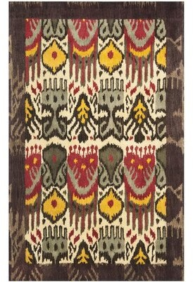 Safavieh Ikat Hand-Tufted Wool Gray/Red/Yellow Area Rug