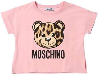 Moschino Bear Leopard Print Cotton Jersey T-Shirt