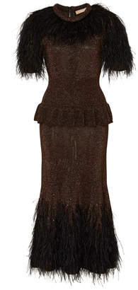 Michael Kors Faux Feather-Paneled Metallic Stretch-Knit Midi Dress