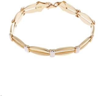 Fine Jewellery 14 K Open Link Polished Satin and Diamond Cut Finish Bracelet