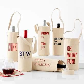 Festive Classic Phrase Wine Totes, Set of 3