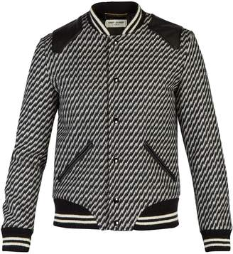 Saint Laurent Leather-trimmed knitted bomber jacket