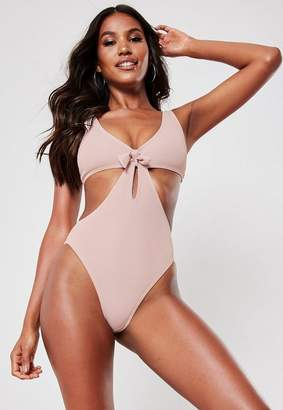 Missguided Nude Knot Front Cut Out Plunge Swimsuit, Nude