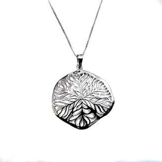 28e0ccf4d Goldmajor Sterling Silver Leaf Lattice Design Round Pendant on a 18 Inch  Chain of 45.7cm