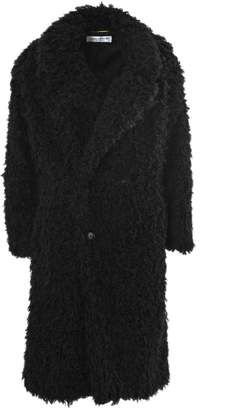 Saint Laurent Coat In Black Fake Fur.