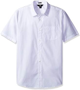 Volcom Men's Everett Solid Cotton Woven Short Sleeve Shirt