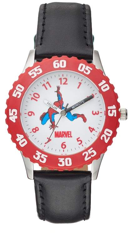 Kohl's Marvel Spider-Man Boy's Leather Time Teacher Watch