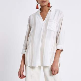 River Island Womens Cream stripe cross back loose fit shirt