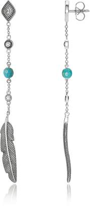 Thomas Sabo Blackened Sterling Silver Long Feather Earrings W/White Cubic Zirconia and Turquoise