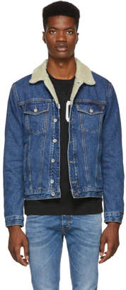 Diesel Blue Denim D-Gioc-Fur Jacket