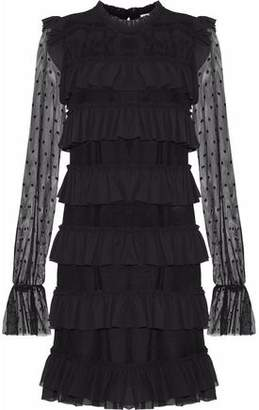 Rebecca Minkoff Ruffled Crepe-Trimmed Point D'esprit Mini Dress