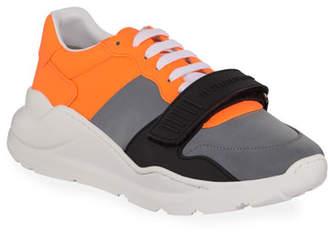 Burberry Men's Regis Neoprene Low-Top Sneakers with Exaggerated Sole, Gray/Orange